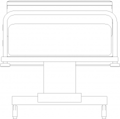 701mm Wide Public Ward Adjustable Bed Rear Elevation dwg Drawing
