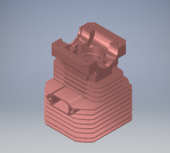 Autodesk Inventor 3D CAD Model of Single Cylinder with cooling fins 2