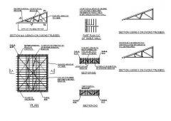 モノピッチ屋根のブレースCAD詳細