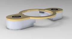 Solid-works 3D CAD Model of flange for gas pressure springs a (mm)50d (mm)131d2 (mm)17l (mm)205r (mm)25