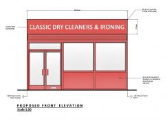 Shop Front - Dry Cleaners CAD drawing