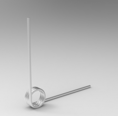 Autodesk Inventor ipt file 3D CAD Model of Torsion Spring, Wire d (inch)=0.012OD (inch)=0.093 Deflection Degree=90