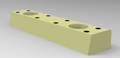 Solid-works 3D CAD Model of Self-lubricating skateboard, L=75,W=18,A=15,B=45, Head Screw=M6No. of Holes=2