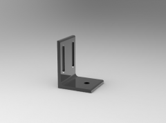 Fusion 360 (step file) 3D CAD Model of Swivel Caster Adjustable Block with double slots, HxLxTxW 100x75x7x70 ,  for Screw M10, M8