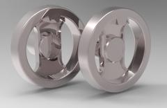 Autodesk Inventor ipt file 3D CAD Model of 2-spoke Handwheels without slot without grip D1=159,   D=14