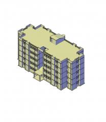 5 pisos edificio residencial modelo 3D de AutoCAD