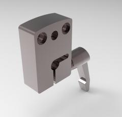 取り付けブラケットのSolid-works3D CADモデル、48X20X67.5 D = 12 H = 67,5