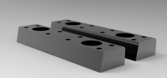 Solid-works 3D CAD Model of  Self-lubricating skateboard, L=75,W=28,A=15,,B=45, Head Screw=M6No. of Holes=2