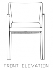 810mm Height Wooden Chair with Rattan Front Elevation dwg Drawing