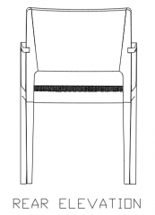 810mm Height Wooden Chair with Rattan Rear Elevation dwg Drawing