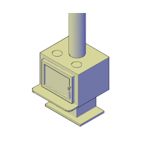 Stove fireplace 3D CAD dwg