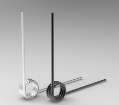 Autodesk Inventor ipt file 3D CAD Model of Torsion Spring, Wire d (inch)= 0.015OD (inch)=0.13 Deflection Degree=180