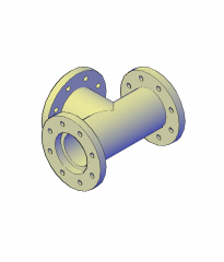 T Pipe connection 3D CAD dwg