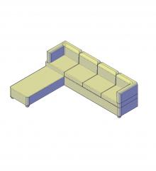 Sofá-cama 4 lugares modelo 3D AutoCAD