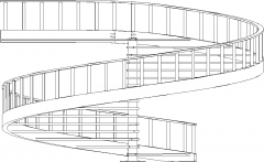 8474mm Wide Aluminum Post Spiral Wooden Stairs with Steel Railings Left Side Elevation dwg Drawing