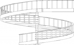 8474mm Wide Aluminum Post Spiral Wooden Stairs with Steel Railings Right Side Elevation dwg Drawing