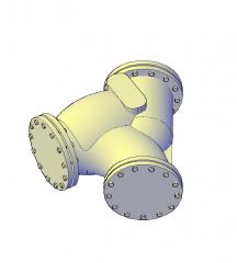modelo Y filtro de la válvula de CAD en 3D