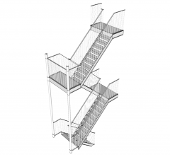 Fire escape stairs Sketchup model