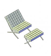 silla Barcelona y el bloque de CAD 3D otomana
