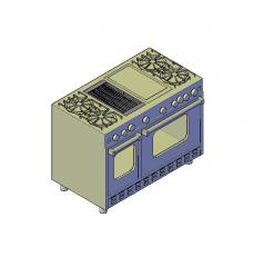 gama horno y plancha bloque de CAD en 3D