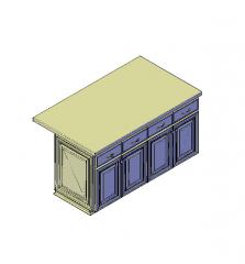 Isola cucina con blocco 3D CAD in granito