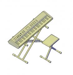 Tastatur mit Stuhl 3D-CAD-Block
