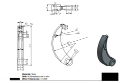 Autodesk Inventor 2D CAD drawing of a Brake Shoe