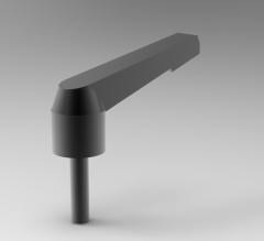 Autodesk Inventor ipt file 3D CAD Model of Lever with threaded screw, A (mm)=65X (mm)=M8T1 (mm)=15D1 (mm)=18.3