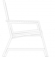 900mm Height Pure Ratan Made Chair Left Side Elevation dwg Drawing