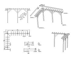 Pergola détails de construction dwg