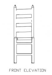 930mm Height Outdoor Chair Made in Rattan Front Elevation dwg Drawing