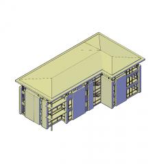 3 storey apartment building 3d dwg