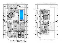 Diseño de la casa con piscina dwg
