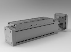 Solid-works 3D CAD Model of roller guide Linear axis rail system  with screw, Pitch D=165Centring=130Shaft D=24Feather key=yesThread=M10