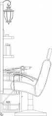 954mm Width Concave Mirror with Seat Left Elevation dwg Drawing