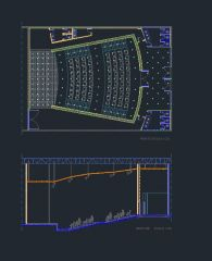 Auditorium in top view and section view dwg model