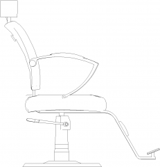 960mm Width Wing Chair Left Elevation dwg Drawing