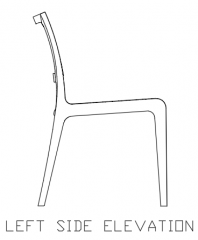 970mm Height Wooden Dining Chair with Rattan Left Side Elevation dwg Drawing