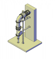 Pipe support 3D DWG block