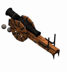 Mittelalterliche Kanone 3DS MAX Modell