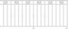 978mm Height Curvy Wood Railing Rear Elevation dwg Drawing