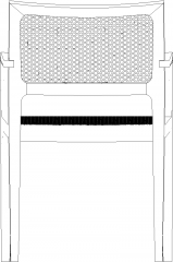 980mm Height Wooden Rattan Dining Chair Rear Elevation dwg Drawing