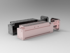 Solid-works 3D CAD Model of roller guide Linear axis rail system  with screw, Pitch D=75Centring=60Shaft D=14Feather key=noThread=M5