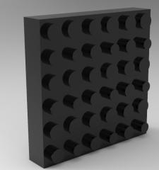 Solid-works 3D CAD Model of Shockproof pad, T=18load (N)=250-1000{25-102}Displacement=120{12}