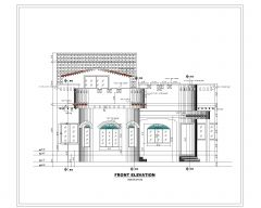 Asian Style 2D Elevations (Multistoried Residential Building) International Standard Type 20-1 .dwg