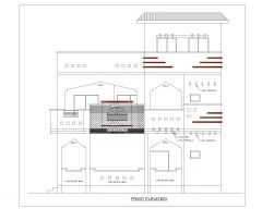 Asian Style 2D Elevations (Multistoried Residential Building) International Standard Type 22-1 .dwg