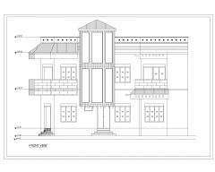 Asian Style 2D Elevations (Multistoried Residential Building) International Standard Type 27-1 .dwg