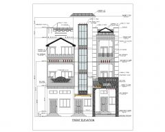 Asian Style 2D Elevations (Multistoried Residential Building) International Standard Type 40 .dwg