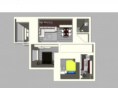 Apartment design with 2 bedroom, 1 living room, 1 laundry room, 1 toilet, 1 kitchen skp