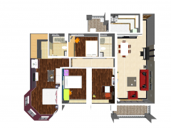 Apartment design with 2 bedrooms and 2 toilets, 1 living room, 1 children room skp
